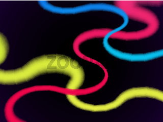Colorful ribbons on black background. Abstract glowing purple lines.