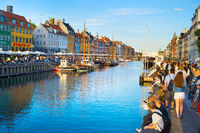 People  Nyhavn port Copenhagen Denmark
