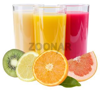 Saft Smoothie im Glas Fruchtsaft Früchte Quadrat isoliert freigestellt Freisteller
