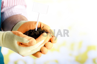Farmer shows soil with label in his hands weared in gloves