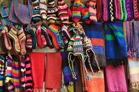 Colorful handcraft displayed in a store in the Langtang National Park, Nepal.