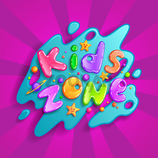 Kids zone vector cartoon logo. Colorful bubble letters for children playroom decoration. Inscription isolated on background