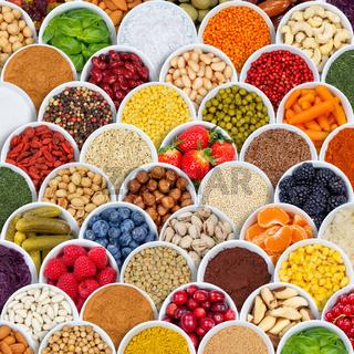 Früchte Beeren Gemüse Obst Nüsse Gewürze Hintergrund Quadrat Zutaten von oben