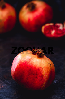 Sliced and Raw Fresh Red Pomegranates