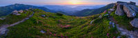 Carpathian morning summer panorama view.