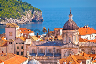 Historic landmarks of old Dubrovnik and Lokrum island view