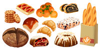 Set vector bread icons. Rye, whole grain and wheat bread, pretzel, muffin, croissant, bagel, french baguette, cherry strudel, bun, muffin with icing, roll with poppy seeds for design menu bakery.