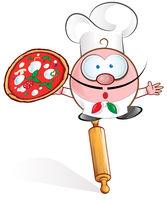 fun pizza chef cartoon on rolling pin