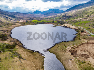 Aerial view of Llynnau Mymbyr are two lakes located in Dyffryn Mymbyr, a valley running from the village of Capel Curig to the Pen-y-Gwryd hotel in Snowdonia, north-west Wales