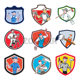 Painter Cartoon Crest Set
