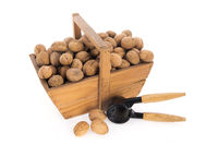 Wooden harvest basket walnuts