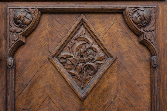 European Door Emblem Texture Oak Heavy Closeup Doorknob Surface Decorated Elegant Diamond Brown Deep