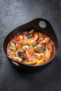 Traditional French Corsican fish stew with prawns
