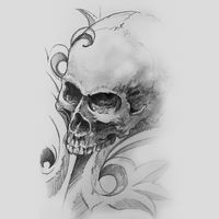 skull, human skull drawing, tattoo on gray background