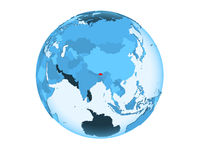 Bhutan on blue globe isolated