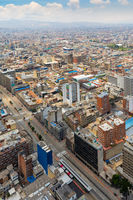 Bogota the Martyrs districts aerial view in a sunny day