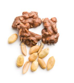 Peanuts covered chocolate.