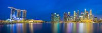 Panorama view of Singapore bay and skyline at night