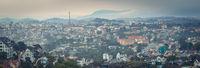 Vietnam's littel Paris Da Lat cityscape. Beautiful view of Dalat, Vietnam. Panorama