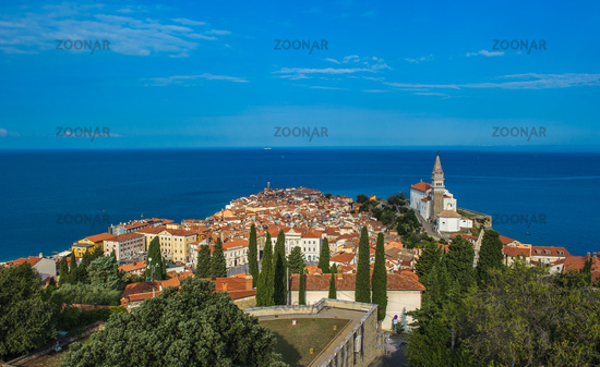 Panoramic view of Piran over Adriatic Sea, Slovenia