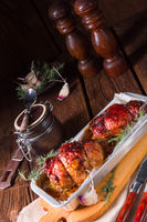tasty small rolling roasts fully with dried plum and bacon