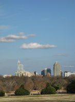 View of downtown Raleigh NC skyline from Dorothea Dix park