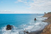 beach and ocean aerial , coastline view of Tenerife from high angle
