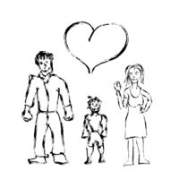 Cute child's like hand drawn family with boy and heart icon isolated on white