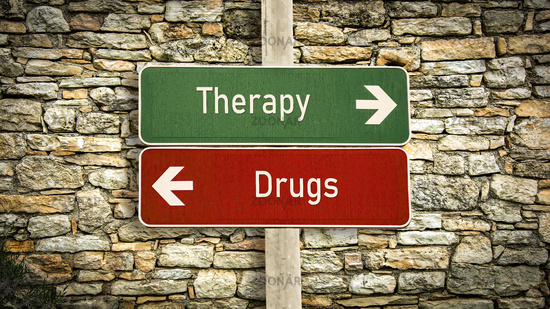 Street Sign to Therapy versus Drugs