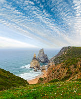 Atlantic coast view in cloudy weather, Portugal.