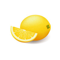 Realistic bright yellow lemon whole and sliced vector
