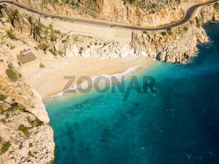 Angled Drone View Sand Beach Sea Kaputas Turkey