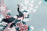 Fragment of beautiful silk fabric with the image of flowers and a peacock.