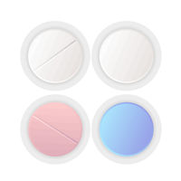 Top view on different round pills, medicaments vector set on white