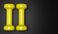 yellow dumbbells isolated on black background. 3d illustration