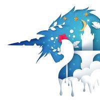 Unicorn paper illustration. Castle paper landscape.