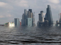 manipulated conceptual image of the city of london with buildings flooded due to global warming and rising sea levels