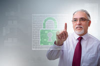 Man in digital security concept pressing button