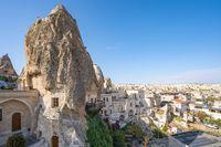 View of Cappadocia city skyline in Cappadocia, Turkey.