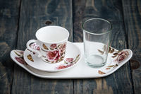 Classic Porcelain Turkish Coffee Cup with Tray and Glass