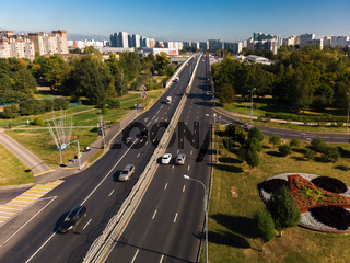 Moscow, Russia - September 20. 2018. view from above to Panfilov Avenue in Zelenograd
