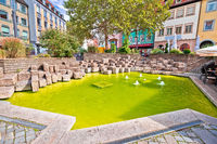 Bamberg. Colorful green fountain pond in historic town of Bamberg