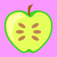 Green Apple Fruit Halved Vector