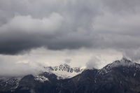 Cloudy day in the Swiss Alps. Mount Aroser Rothorn.