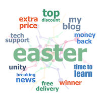 Text Happy Easter. Holiday concept . Word cloud collage. Background with lines and circles