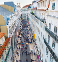 People Lisbon shopping street. Portugal