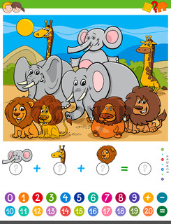 counting and adding task with cartoon animals
