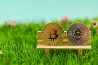 Bitcoin und Ether Münze auf Bank als Geldanlage