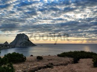 Es Vedra island at sunset. Ibiza Island, Balearic Islands. Spain