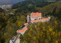 Castle Pernstejn in Czech Republic - aerial view